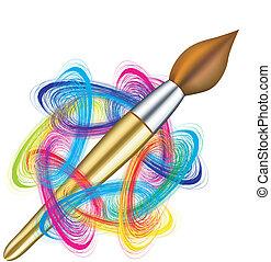 vector, artist\\\'s, paleta, y, cepillo