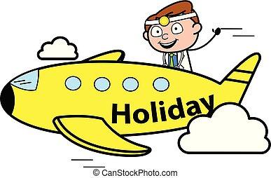 vector, arts, -, illustratie, schaaf, professioneel, het reizen, spotprent