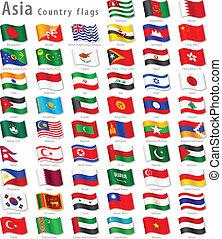 vector, asiático, bandera nacional, conjunto