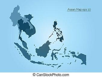 vector, asiático, mapa