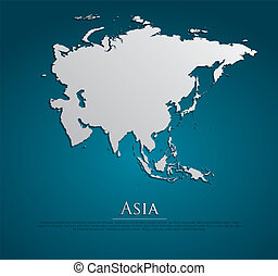 vector Asia Map card paper on blue background, high detailed