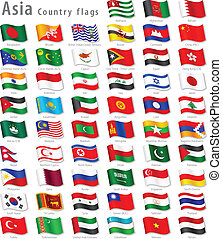 Vector Collection of all Asian National Flags, in simulated 3D waving position, with names and grey shadow. Every Flag is isolated on its own layer with proper naming.