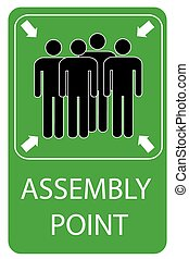 Assembly Point Sign at white backgr