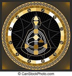 vector, astrológico, hexagrams, infographics., círculo, mandala