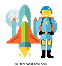 Vector Astronaut and space shuttle. Flat style colorful Cartoon illustration.