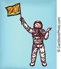 Vector astronaut girl in spacesuit with green flag