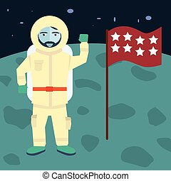 vector astronaut stands on the planet with flag, Cosmic space background