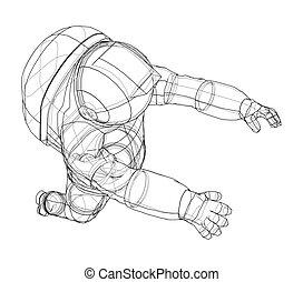 vector, astronauta, concept., interpretación, 3d