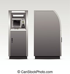 Vector ATM Bank Cash Machine Isolated on Background