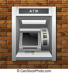 Vector ATM Bank Cash Machine on a Brick Wall Background