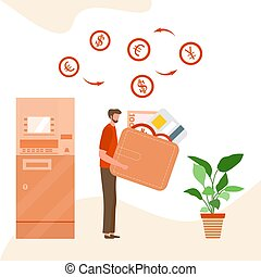 Vector ATM people bank card Cash Money Finance