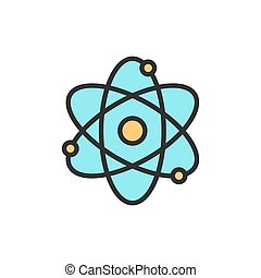 Vector atom, molecule flat color line icon.
