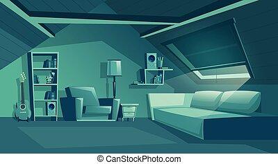 Vector attic interior at night, garret with furniture. -...