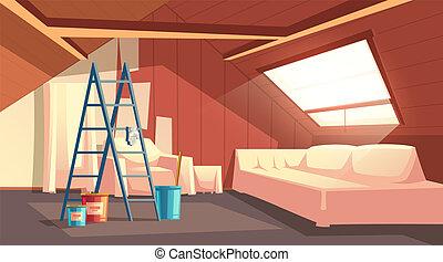 Vector attic repair. Renovation of garret, loft - Vector...