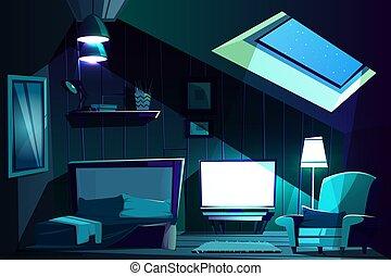 Vector attic room at night. Cartoon garret