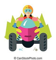 Vector ATV Girl. Flat style colorful Cartoon illustration.