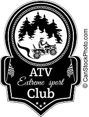 Vector atv quad bike extreme sport club emblem
