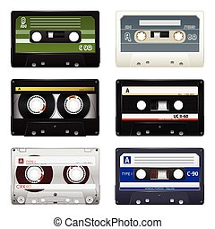 Collection of audio cassettes over white background. Vector illustration