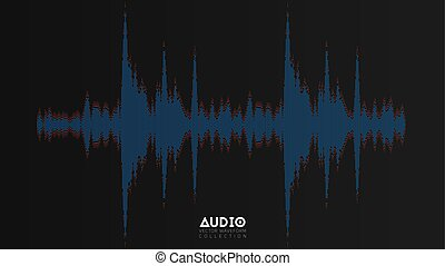 Vector audio wavefrom. Abstract music waves oscillation. Futuristic sound wave visualization. Synthetic music technology sample. Tune print with bars and red dots.