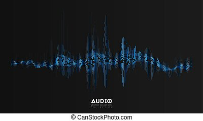 Vector audio wavefrom. Abstract music waves oscillation. Futuristic sound wave visualization. Synthetic music technology sample. Tune print. Distorted frequencies.