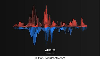Vector audio wavefrom. Abstract music waves oscillation. Futuristic sound wave visualization. Synthetic music technology sample. Tune print. Red and blue frequencies
