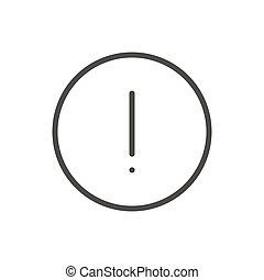 vector., aufmerksamkeit, warnung, symbol., linie, ikone