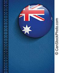 Australia Flag Button in Jeans Pocket