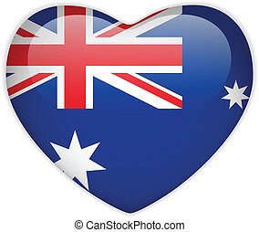 Australia Flag Heart Glossy Button - Vector - Australia Flag...