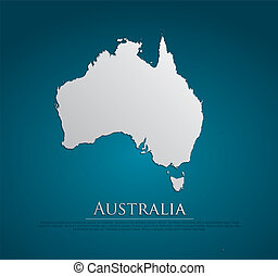 vector Australia Map card paper on blue background, high...