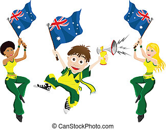 Australia Sport Fan with Flag and Horn