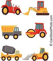 vector, auto, bouwsector, liggen