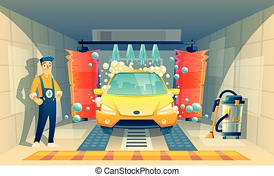 Vector automatic car washing service with worker