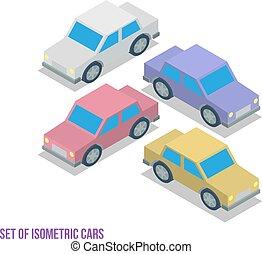 vector, auto's, isometric, set, illustratie