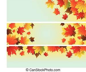 Vector autumn background design of maple leaves with copy space
