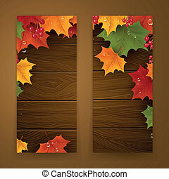 Vector Autumn Banners - Vector Illustration of Two Autumn...