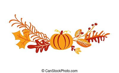 Vector autumn bouquet elements. maple orange leaves, berries and pumpkin isolated on white background. Perfect for seasonal holidays, Thanksgiving Day