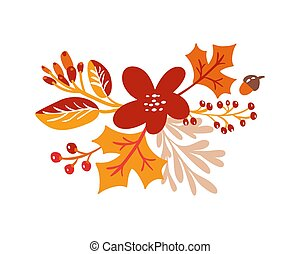 Vector autumn bouquet elements. maple orange leaves, berries flat lay composition isolated on white background. Perfect for seasonal holidays, Thanksgiving Day