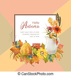 Vector Autumn Card - Artistic creative autumn card. Flyer...