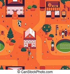 Vector autumn city landscape people walk street