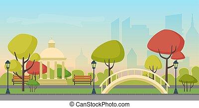 Vector autumn city public park on the modern city skyscrapers background. Multicolor autumn park in town city center.