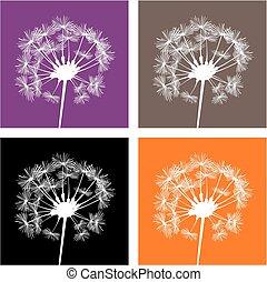 Vector autumn dandelion silhouette - Vector white dandelion...