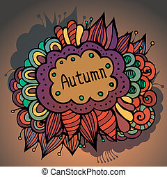Vector autumn floral and leaves card design