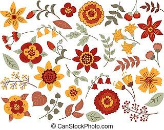Vector Autumn Floral Set