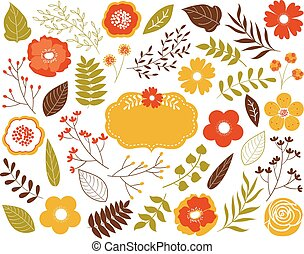 Vector Autumn Floral Set with Leaves, Flowers, Berries and Frame.  Vector Autumn Leaves and Flowers. Vector Fall.