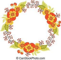 Vector Autumn Floral Wreath