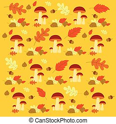 Vector Autumn forest mushrooms and leaves pattern