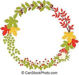 Vector Autumn Forest Wreath