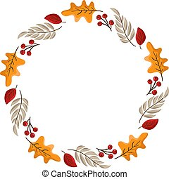 Vector autumn frame round wreath with place for text. With leaves, acorts and berries for Happy Thanksgiving Day. Template illustration for print, greeting card, mugs. Fall concept