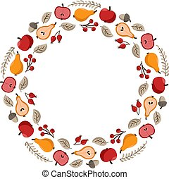 Vector autumn frame round wreath with place for text. With pears, acorns, apples for Happy Thanksgiving Day. Template illustration use for print, greeting card, mugs. Fall concept