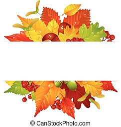 Vector autumn frame with fall leaf